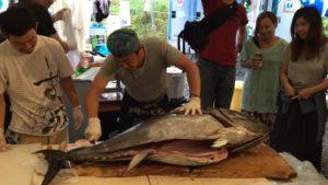 マグロ漁船船長ハジメさんが持ってきてくれた巨大マグロの解体ショー。大トロも無料でふるまわれました。